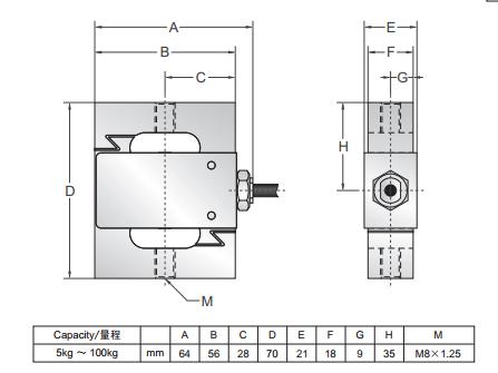 BAB-20MT称重传感器尺寸图