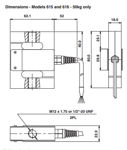615-100Kg称重传感器产品尺寸