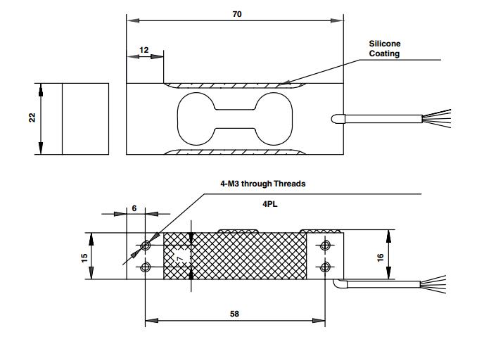 1006-3kg称重传感器产品尺寸