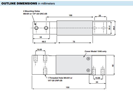 1040-100Kg称重传感器产品尺寸