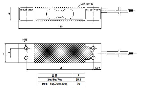 托利多MT1022-15Kg产品尺寸图