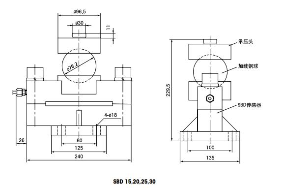托利多SBD-30t产品尺寸图