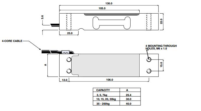 特迪亚1022-10Kg称重传感器产品尺寸图