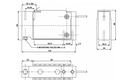 特迪亚1010-7Kg称重传感器尺寸图