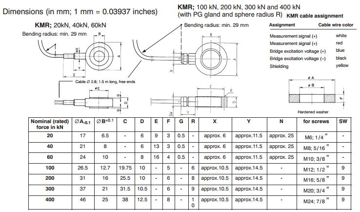 KMR力传感器产品结构尺寸图